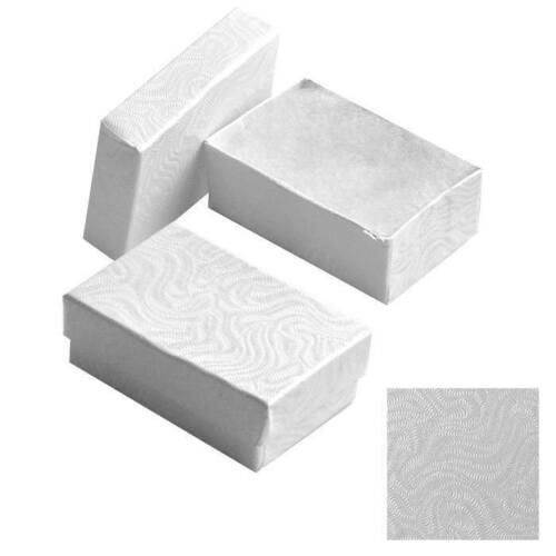 100 Swirl White Cotton Filled Jewelry Packaging Gift Boxes Earring Ring #21