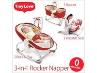 Tiny love 3 in 1 baby napper rocker bouncer seat red