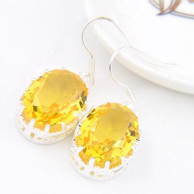 - Gorgeous Jewelry Gift Oval Cut Golden Citrine Gemstone Silver Dangle Earrings