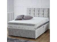 DESIGNER FURNITURE - DOUBLE AND KING SIZE CRUSH VELVET DIVAN BED BASE w OPT MATTRESS-CALL NOW