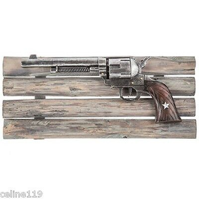 "RUSTIC PISTOL on WOODEN FRAME WESTERN HOME DECOR 17"" x 7"""