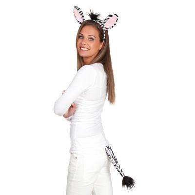 Zebrakostüm Set Ohren mit Haarreif und Schwanz, Karnevalskostüm Fasching