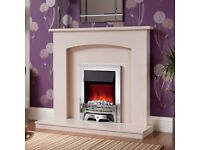 """BEMODERN ISABELLE 45"""" MICROMARBLE FIREPLACE AND BEMODERN ENRICO ELECTRIC FIRE - BRAND NEW"""