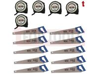 "10 x BAHCO 244/22 Hardpoint Handsaw 22"" Medium Cut + 5x Jefferson 5 metre Measuring Tape"