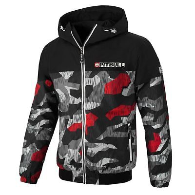 Pit Bull West Coast Jacket Homelands 2 Black/Red Camo Windbreaker Pitbull Jacke Camo Weste Kapuze