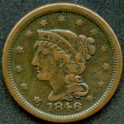 1846 (VF) 1C SD BRAIDED HAIR LARGE CENT