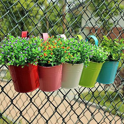 Iron Flower Pot (10 Colors Metal Iron Flower Pot Hanging Balcony Garden Plant Potted Planter US )