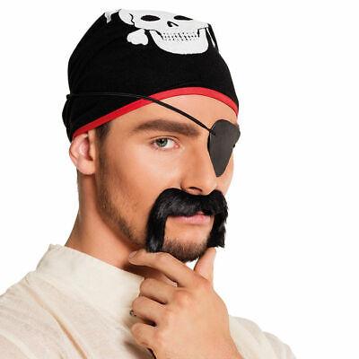 Kostümbart Pirat Schnauzbart schwarz, Klebebart Piratenkostüm Karneval Fakebart