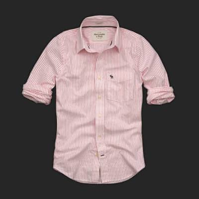 Abercrombie And Fitch Deslizar Brook Rosa a Rayas Camisa -XL
