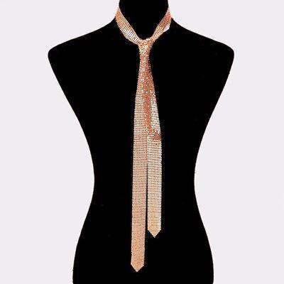 Rose Gold Metal Mesh Tie Necklace $8.99