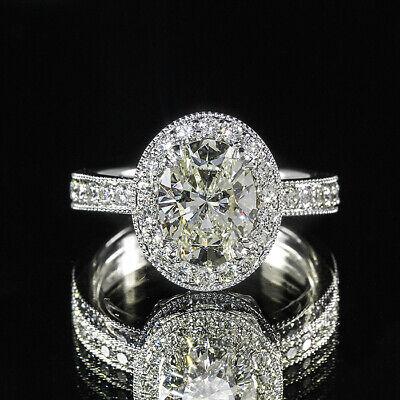 2.31ct GIA Oval Diamond Vintage Halo Pave Set Milgrain Engagement Ring D/SI2