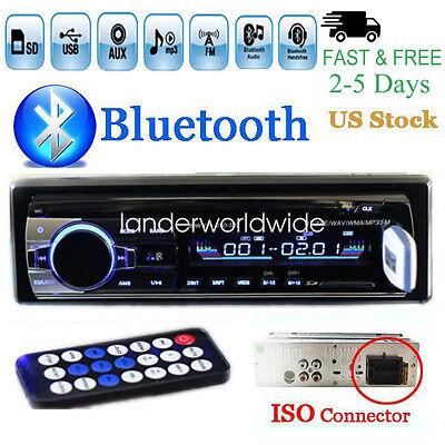 12V Fm Car Stereo Radio Bluetooth 1 Din In Dash Handsfree Sd Usb Aux Head Unit