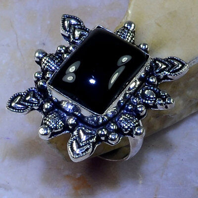 LOVELY NEW HUGE GENUINE BLACK ONYX SOLITAIRE HEART TALISMAN 925 SILVER RING 81/4