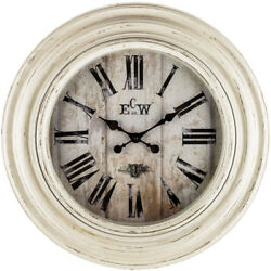 Wall Clock 23 in. Large Round Exterior Roman Numerals in Distressed White Finish