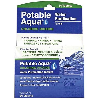 NEW Potable Aqua Chlorine Dioxide Water Purification Military / Survival 30-Tabs