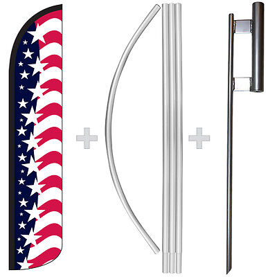 Star Spangled Usa American 15 Tall Windless Swooper Feather Flag Pole Kit