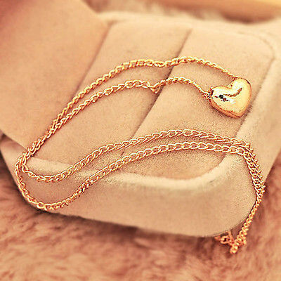 Necklace - Gold Plated Heart Pendant Bib statement Chain Necklace Fashion Women Jewelry