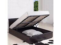 NEW DOUBLE LEATHER STORAGE GAS LIFT UP BED FRAME AND MATTRESS = FREE AND SAME DAY DELIVERY
