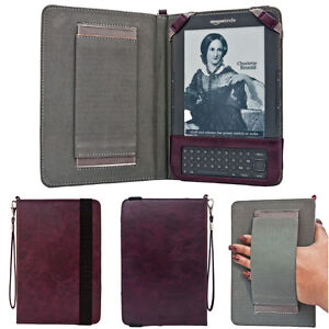 Kindle Keyboard 3, 3G, Wifi Hand Strap Case Purple Leather Cover + Screen Guard