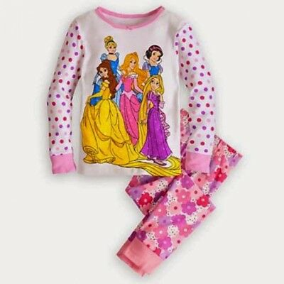 Disney Store Princess PJ Pal Girls 2pc Pajama Rapunzel Aurora Belle Snow White
