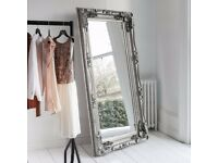 New Carved Louis Silver, gold or cream 6 ft Leaner Mirror Only £199