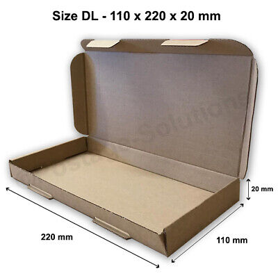100x DL SIZE BOX 220x110x20mm ROYAL MAIL LARGE LETTER POSTAL CARDBOARD PIP
