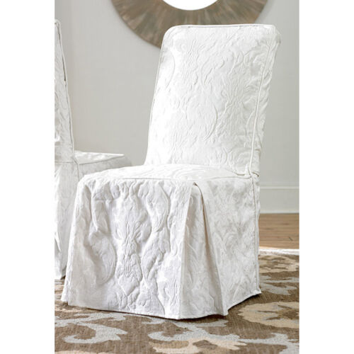 White Dining Room Chair Covers: Matelasse Damask Dining Room Chair Cover White