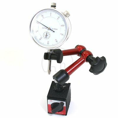 0 - 10mm Dial Indicator Gauge Magnetic Base Holder Precise Measuring Long Arm