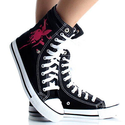 Women's Playboy Sneakers Bunny High Top Black Canvas Lace Up Skate Shoes, Sizes - Playboy Womens Shoes