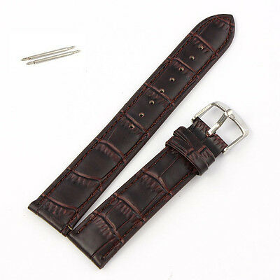 Unique 20mm Soft Genuine Leather Strap Steel Buckle Wrist Watch Band Brown
