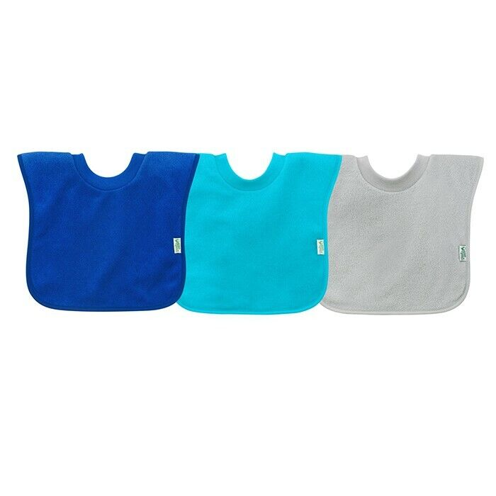 GREEN SPROUTS PULL-OVER STAY DRY BIBS - BLUE 3 PACK