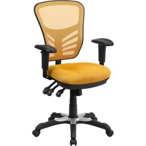 Ayers Mid-Back Mesh Desk Chair, yellow