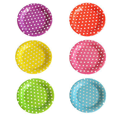10 Pcs Disposable Colored Polka Dots Round Paper Plate Dishes Food Trays 7'' 9'' ()