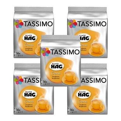 5 x Packs Tassimo Cafe HAG Crema Decaffeinated T Discs Pods - 80 Decaf Drinks