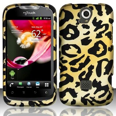 T Mobile Huawei Mytouch Q U8730 Rubberized Hard Case Snap On Phone Cover Cheetah