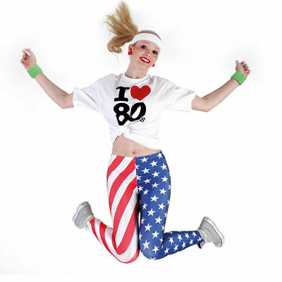 Leggings USA Fahne Amerika Flaggen Hose Stars and Stripes 80er 80s