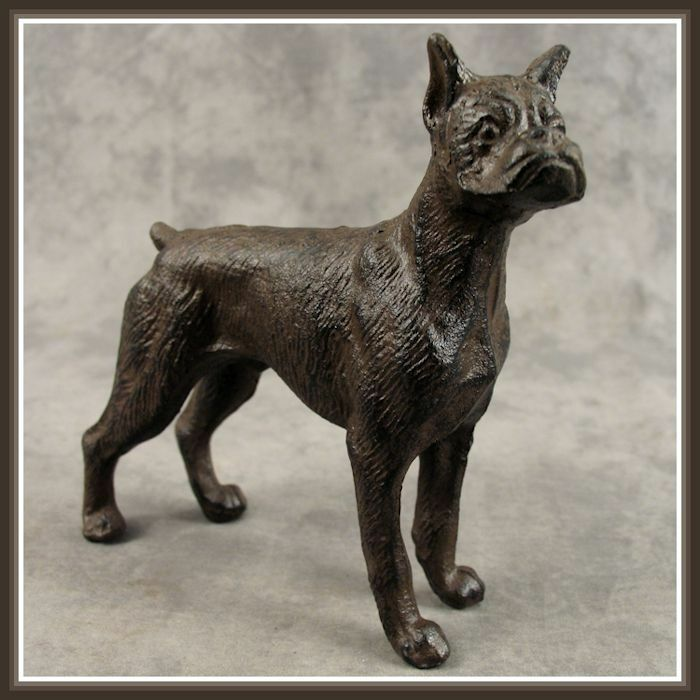 Boxer Dog Cast Iron Doorstop Statue Ebay