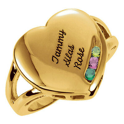 10K Solid Gold Mother's Family Ring 1 to 4 Birthstones Children's Names Engraved 10k Gold Engraved Mothers Ring