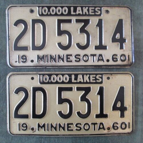 Collector 1960 1961 Minnesota License Plate MATCHED PAIR YOM Plates # 2D 5314