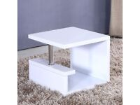Tiffany High Gloss White Square Lamp Table