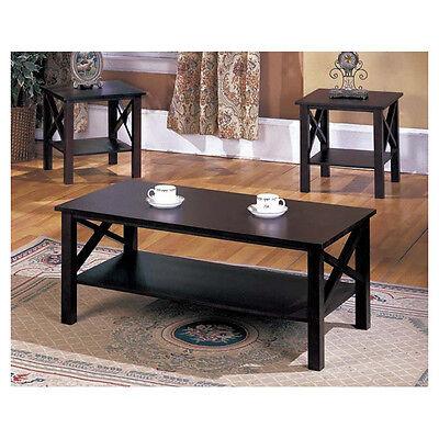 Merlot Finish 3-Piece 1-Shelf Coffee End Table Set Home Living Room Furniture