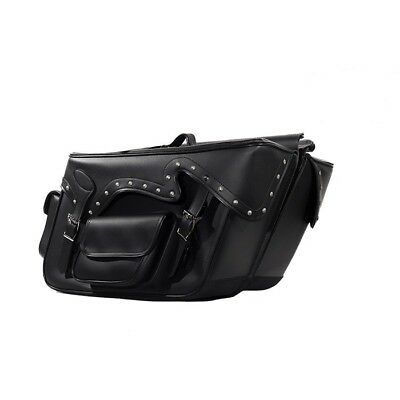LARGE QUICK DETACH STUDDED MOTORCYCLE PVC LEATHER SADDLEBAGS UNIVERSAL FIT BLACK (Detachable Leather Saddlebags)