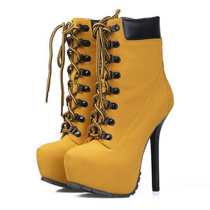 New Ladies Heel 14.5cm Lace Up Platform Stiletto Ankle Boots - TAN Size 5-1