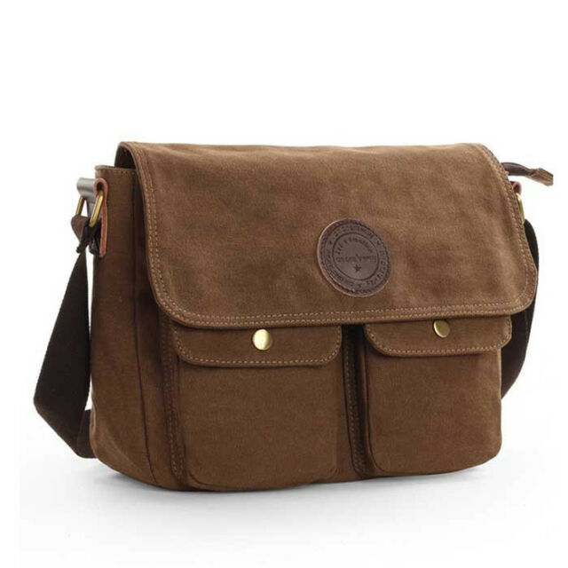 Men's Canvas Messenger Shoulder Bag Cross Body Cycle School ...