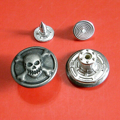 12 NO-SEW Metal Halloween Skull Cross Bone Tack Snap Jeans Buttons 16.5mm G189 (No Sew Halloween Costume)