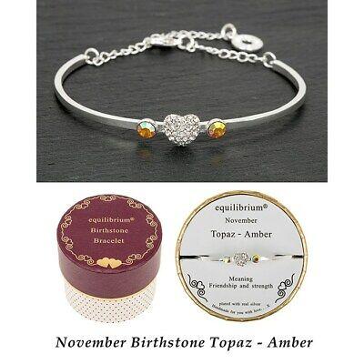 November Topaz/Amber Equilibrium Birthstone Bracelet Jewellery Birthday Gift