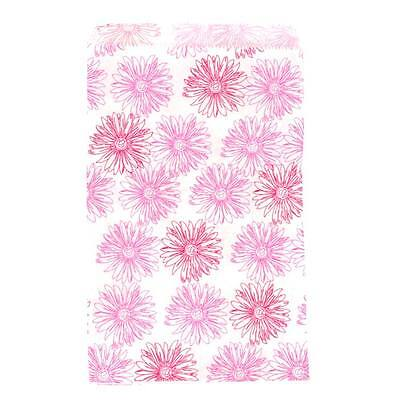 100 Pink Flower Gift Bags Merchandise Bags Paper Bags 5x 7