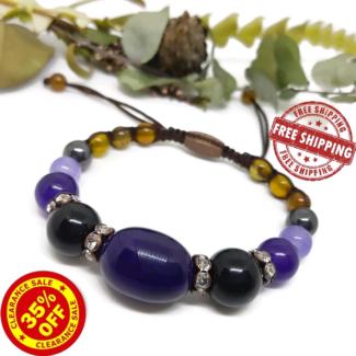 SALE Various Agates, Jade & Czech Rhinestones Macrame Bracelet