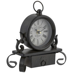 Black & Brown Metal Clock With Drawer. Unique Classic Functional Home Accent