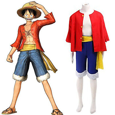 One Piece Monkey D Luffy New World Costume Outfits for Cosplay/Halloween (Monkey Outfits For Adults)